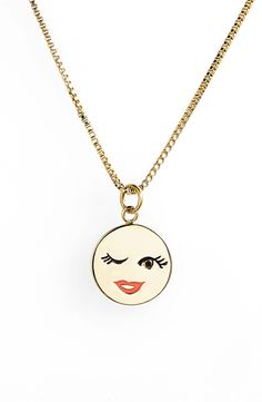 Totally crushing on this flirty gold Kate Spade emoji necklace.