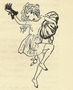 Maia, the second oldest of the Pleiades, returning to the heavens with her purchases after doing her Christmas shopping in a London department store. Illustration by Mary Shepard from Mary Poppins by P. L. Travers.