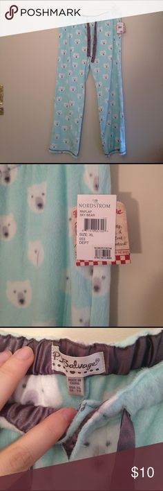 NWT Nordstrom Cozy Polar Bear Pajama Bottoms New with tags turquoise fuzzy and soft pajama pants with polar bear print, silky gray drawstring, and button fly from Nordstrom. P. J. Salvage brand size XL. Smoke-free and pet friendly home! PJ Salvage Intimates & Sleepwear Pajamas