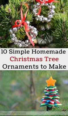 10 Easy Homemade Christmas Tree Ornaments to Make - Frugal Family Home  Christmas is all about traditions and one of our traditions is to make a new homemade Christmas tree ornament each year. Its something we started when my daughter was young and weve kept up the tradition.  If youd like to make a homemade Christmas tree ornament this year Ive got 10 easy ideas for you to try.  All of these homemade Christmas tree ornaments are all easy to make so the kids can help and it can keep them…