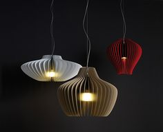 Lamella pendant light from Moltoluce. Aluminium fins.