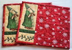 Easy mug rug/coaster- I really like these. wonder where she found that santa fabric?
