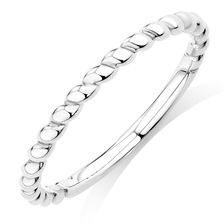 10ct White Gold Rope Stack Ring