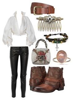 Pirate by para6noia on Polyvore featuring moda, Claude Montana, Maje, Miz Mooz, Bling Jewelry, Will Leather Goods and pirate