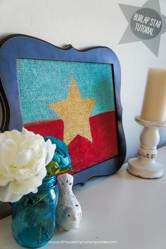 4th of july decor idea using burlap
