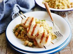 Grilled Scallops with Orange-Scented Quinoa Recipe : Giada De Laurentiis : Food Network Summer Grilling Recipes, Healthy Summer Recipes, Summer Desserts, Fish Recipes, Seafood Recipes, Recipies, Food Network Recipes, Cooking Recipes, Giada Recipes