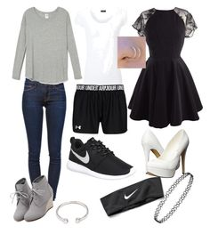 """""""Neutral day. Normal,Athletic, and then night outfit."""" by makhennaj on Polyvore featuring Frame Denim, WithChic, Joseph, NIKE, Michael Antonio, Forever 21, women's clothing, women's fashion, women and female"""