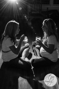 Maternity session with my sisters. Pregnant Twins eating ice cream.