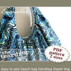 Teardrop Bag PDF Sewing Pattern - Large Beach Bag, Handbag, Hobo Bag, Shoulder or Tote Bag. $8.50, via Etsy.