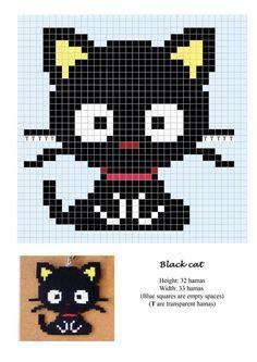 Black cat hama beads pattern - use as crochet or cross stitch chart! Hama Beads Design, Hama Beads Patterns, Loom Patterns, Beading Patterns, Jewelry Patterns, Beaded Cross Stitch, Cross Stitch Charts, Cross Stitch Embroidery, Cross Stitch Patterns