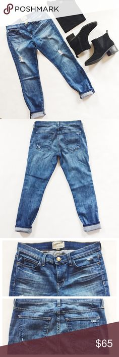 """Current/Elliott Stilletto Jeans Current/Elliott Stilletto Jeans in Niagra Destroyed finish, a medium wash.  Factory distressing, slightly tapered leg.  Pre-loved but in excellent condition.  No holes, stains or tears.  Measurements laying flat: Waist (across): 14.75"""" Hips: 18""""  Inseam: 26"""" (unrolled) Current/Elliott Jeans"""