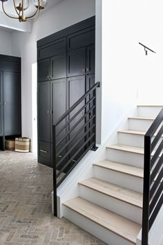 Our Black Mudroom with Brick Herringbone Floors – The House of Silver Lining – Decorating Foyer Style At Home, Planchers En Chevrons, Apartment Decoration, Interior And Exterior, Interior Design, Brick Flooring, Hallway Flooring, Black Cabinets, Ship Lap Walls