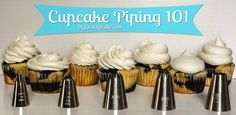 Cupcake Piping 101 - Learn to pipe beautiful swirls of frosting on your cupcake in 7 different ways!