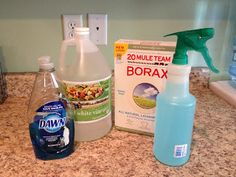 Recipe: Put 2 tablespoons of vinegar and 2 tsp of borax in a spray bottle, (I use a funnel and put the borax in first). Add hot water to dis...