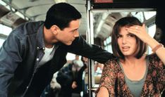 "Annie (Sandra Bullock): ""Well, I should probably tell you that I'm taking the bus because I had my driver's license revoked."" // Jack (Keanu Reeves): ""What for?"" from Speed Jan de Bont Sandra Bullock Speed, Sandro, Keanu Reeves Speed, Keanu Reeves Sandra Bullock, Role Call, Keanu Reeves Quotes, Keanu Reaves, Now Magazine, People Magazine"