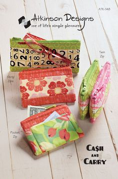 """Corral your cash, cards, and coins in an easy zipper pouch. Make one to keep and one to give away. Use Terry's easy zipper method and you'll agree that zippers are no big deal! 3-1/2"""" x 5-1/2"""", 3-1/2"""""""