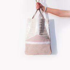 Silver Pink Metallic Leather Shopper // Spring Pastel Tote // Geometric Hobo Bag // Laptop Purse // Birthday Gift by gmaloudesigns on Etsy https://www.etsy.com/listing/213073612/silver-pink-metallic-leather-shopper