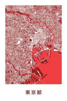Stylized map prints of Tokyo, Japan Map Print by Ræ Location Analysis, Map Design, Graphic Design, Tokyo Map, Tokyo City, Masterplan, City Layout, Map Globe, City Maps