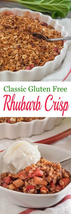 Classic Rhubarb Crisp, made gluten free. The oats & nuts toast up while the rhubarb is becoming a delicious juicy mess.