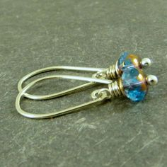 Petite Aqua Blue Earrings, Wire Wrapped Jewelry Budget Friendly Earrings Gifts for Her by adorned7 on Etsy