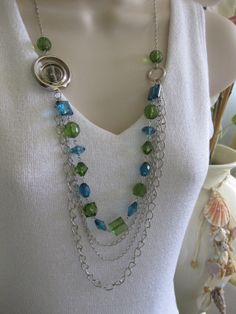 Multistrand Beaded Necklace Blue Green Chunky by RalstonOriginals, $15.00