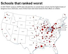 USA Today map of schools that ranked worst for chemicals