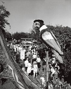 """the Enchanted Tiki Room's """"Barker Bird"""", who sat on a perch over the entrance to the attraction when it first opened back in 1963.The idea was to have one of the audio-animatronic birds outside talking to the crowd below, enticing them to come inside and see the show. Supposedly he was so popular, that he bogged down the flow of traffic through the area and was eventually removed."""