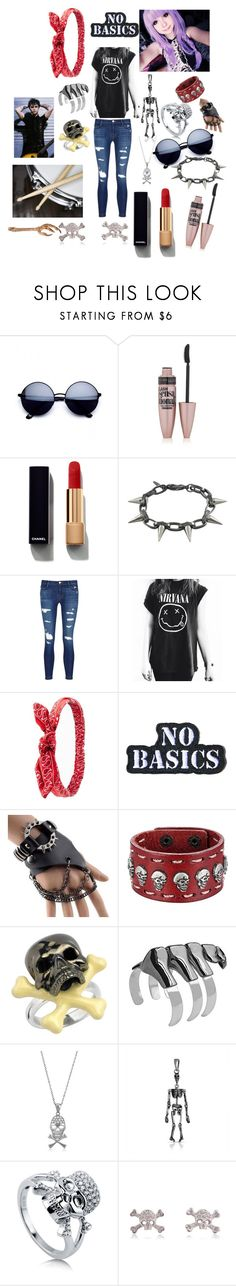 """THE BAND"" by poptart-ii on Polyvore featuring Maybelline, Chanel, Joomi Lim, J Brand, Charlotte Russe, Hollywood Mirror, Trend Cool, Deakin & Francis, Noir and BERRICLE"