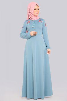 Çiçek Nakışlı Tesettür Elbise LRJ522 Bebe Mavisi
