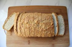 A low carb bread that is simple to make and baked with almond flour. Delicious sliced and toasted for breakfast this has only 2g net carbs a slice.