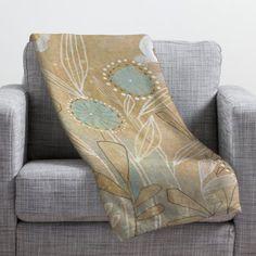 "East Urban Home Cori Dantini Blue Floral Throw Blanket Size: 60"" H x 50"" W"