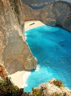 Navagio Beach, or the Shipwreck, is an isolated sandy cove on Zakynthos island and one of the most famous beaches in Greece . I have always wanted to go to Greece! Places Around The World, Oh The Places You'll Go, Places To Travel, Places To Visit, Travel Pics, Vacation Destinations, Dream Vacations, Vacation Spots, Greece Destinations