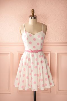 Prissie - White and pink polkadot belted dress