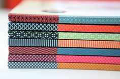 Washi tape on books and magazines. (I inverted the original idea by Uppercase who'd like to turn their magazine cover into washi tapes).