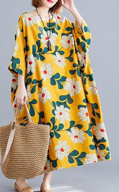 DIY o neck pockets linen cotton dress Tunic Tops yellow print Dresses – SooLinen Outfits Casual, Casual Summer Dresses, Mode Outfits, Dress Casual, Linen Dresses, Modest Dresses, Cotton Dresses, Mode Kimono, Modern Hijab Fashion