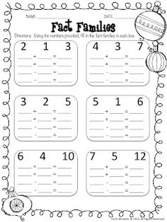 78 Best Teaching Math Fact Families Images Teaching Math, 1st Short E Worksheets 1st Grade Fact Families Edit To Fit Grade Level