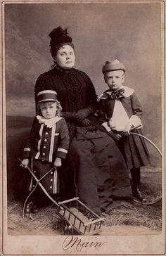 Widow with two Children, Albumen Cabinet Card, circa 1885.