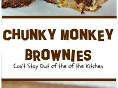 You will swoon over these rich, decadent brownies filled with chocolate baking melts, chocolate chips and bananas. Sweets Recipes, Brownie Recipes, Cooking Recipes, Brownie Cake, Brownies, I Love Chocolate, Chocolate Chips, Tummy Yummy, Chunky Monkey