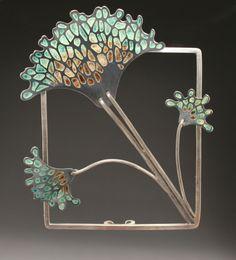 spore brooch by Sarah Loch-Test Bijoux Art Nouveau, Art Nouveau Jewelry, Jewelry Art, Vintage Jewelry, Fine Jewelry, Jewelry Design, Fashion Jewelry, Art Deco, Enamel Jewelry