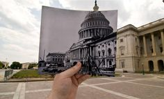 Photographer Jason E. Powell is reviving historic photos by going back to the actual place where they have been taken and then inserting that old image in the landscape of a new photo.  The results are spectacular ....   Read more: http://www.businessinsider.com/past-vs-present-photos-washington-dc-2011-7?op=1#ixzz23IuQiymT         US Capitol Under Construction, Washington, DC