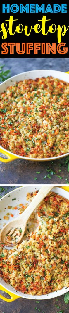 Homemade Stovetop Stuffing - Skipped the boxed stuffing and try this super EASY stovetop version instead. I promise. It tastes a million times better!