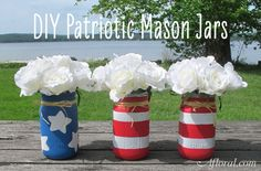 DIY these adorable Flag Mason Jars!  This is the perfect centerpiece for your 4th of July and Memorial Day celebration.