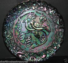$29.99 Imperial Carnival Glass Collectors Plate Turtle Doves 12 Days of Christmas 1971 | eBay
