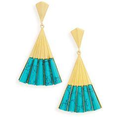 Women's Dean Davidson Fan Earrings ($295) ❤ liked on Polyvore featuring jewelry, earrings, turquoise, geometric jewelry, geometric earrings, polish jewelry, drop earrings and dean davidson jewelry
