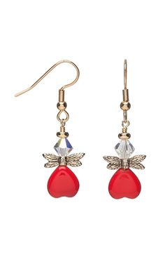Earrings with Czech Pressed Glass Beads, Swarovski® Crystal Beads and Gold-Plated Pewter Wings
