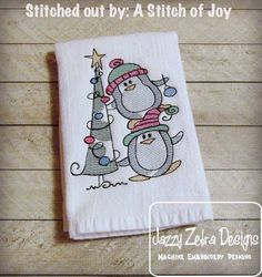Penguins with Christmas Tree Sketch Embroidery Design: Jazzy Zebra Designs
