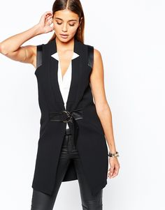 Image 1 of River Island Premium Sleeveless Tailored Jacket