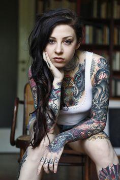 Gogo Suicide looks #badass with her #tattoos! #suicidegirls #sg #girlswithtattoos