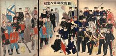 """Illustration of Russian and Japanese Army and Navy Officers"" by Watanabe Nobukazu, February 1904. (via http://ocw.mit.edu/ans7870/21f/21f.027/throwing_off_asia_03/toa_vis_04.html)"