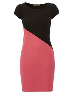 Barbara Hulanicki short sleeved ponte dress with asymetric colour block design. Simple Dresses, Dresses For Work, Color Blocking Outfits, Trendy Ankara Styles, Knit Baby Dress, Wedding Dress Necklines, Fashion Line, Colorblock Dress, Classy Dress